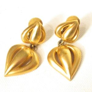 Jewelry - Brushed Gold-toned Light Clip Earrings '90s